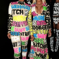 10/10 Amber Rose and Blac Chyna looking amazing in mathcing typography inspired outfits. Getty Images